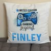 Personalised Gaming cushion read limited edition gaming legend with a blue controller