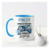 Personalised gaming mug White mug with blue rim with gaming controller on it in blue