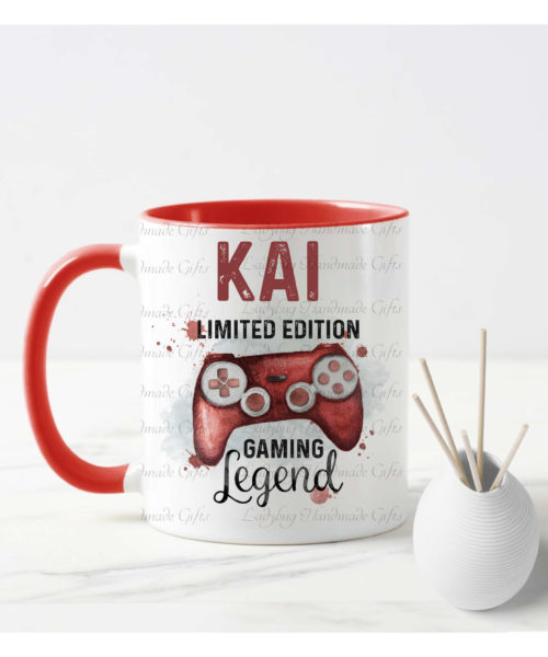 Personalised red gaming mug has a red controller on the mug