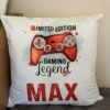 Personalised Gaming Legend cushion with a red controller