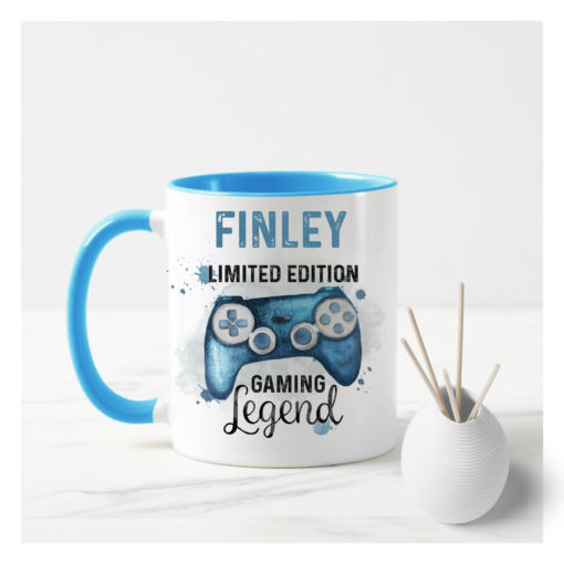 Personalised gaming mug with a blue controller