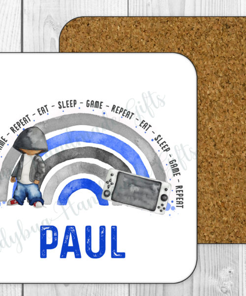 Personalised gaming coaster with a boy, rainbow and handheld gaming device in blue