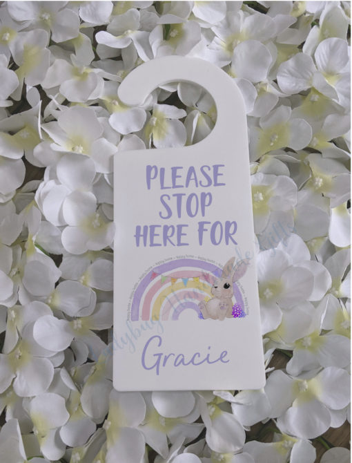Acrylic Hanger with Please stop here and a easter bunny rainbow personalised