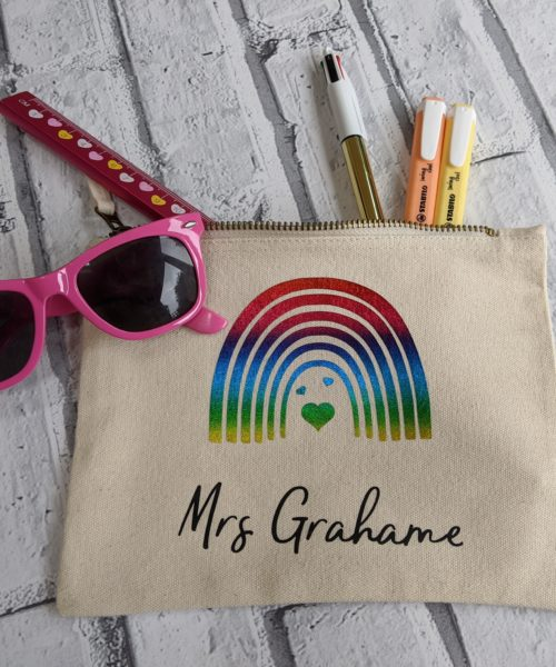 Teacher Cream pencil case with a rainbow
