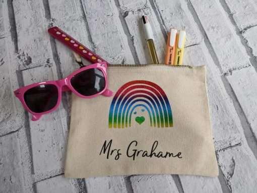 Teacher Cream pencil case with a rainbow