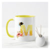 Personalised mug for Nanny Yellow and white mug with an M on and bee alphabet design