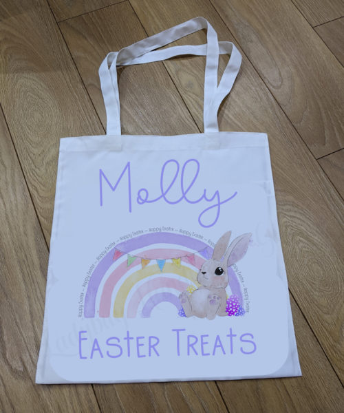 Easter Bag with a bunny in a rainbow colours of pink and purple