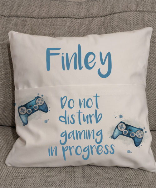 Personalised gaming pocket cushion reading do not disturb gaming in progress with a blue controller