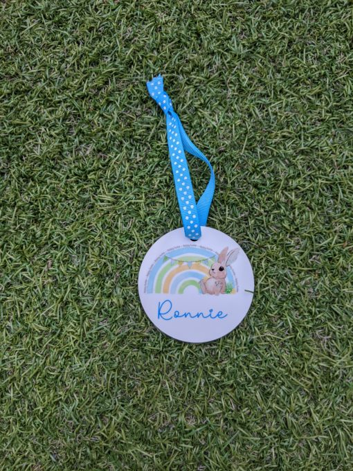 Personalised Easter Hanging Decoration on grass with boy bunny design