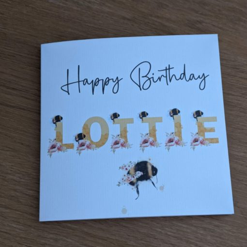 Personalised Birthday card with Bee alphabet