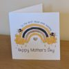 Personalised Mother's day or birthday card with a bee rainbow on it