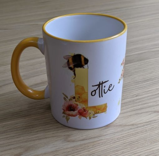 Personalised mug with lottie in a beautiful bee design.