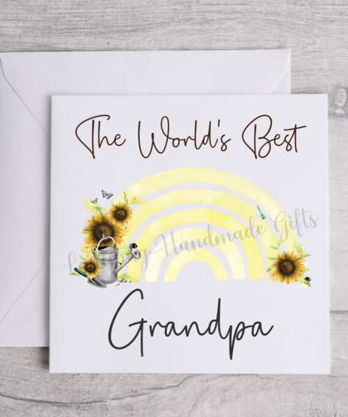 Worlds best Grandpa rainbow with garden items on it