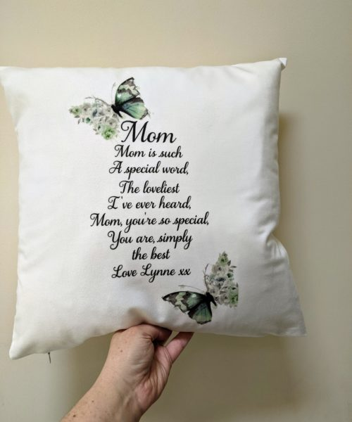 Special Mom Cushion with butterfly and verse on it