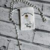 White communion rosary beads with personalised pouch